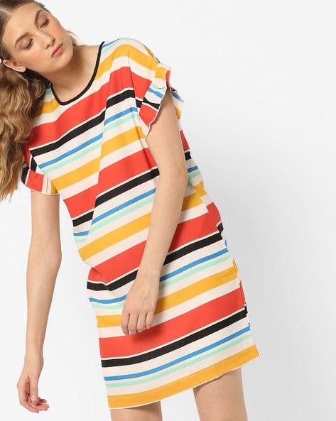 Striped Shift Dress By AJIO ( Offwhite )