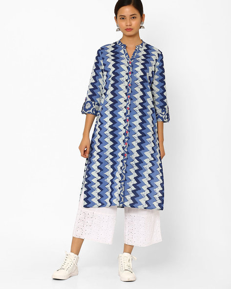 Printed Straight Kurta With Button Placket By AJIO ( Navyblue )