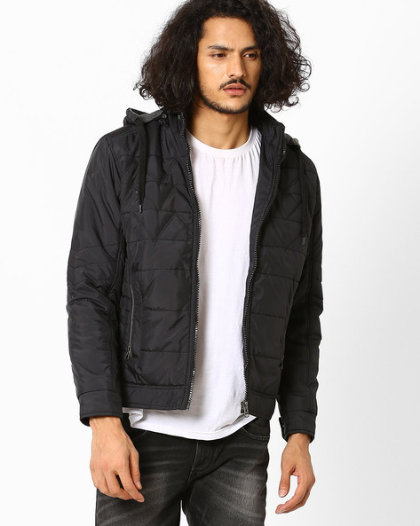 Regular Fit Quilted Jacket With Hood By Fort Collins ( Black )
