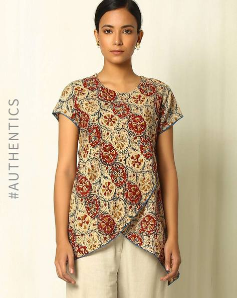 Handblock Print Kalamkari Cotton Tunic With Overlap Front By Indie Picks ( Multi )