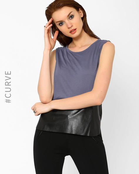 Sleeveless Top With High-Low Hem By AJIO ( Grey )