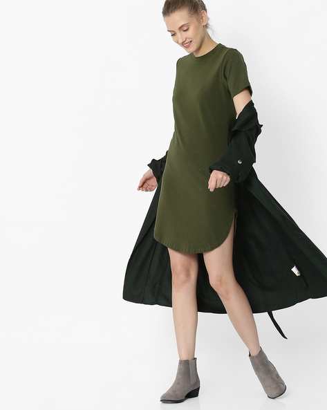 Speckled Dress With Curved Hemline By ANONYMOUS CO ( Olivegreen )