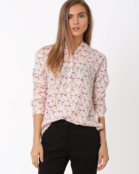 Printed Shirt With Mandarin Collar By AJIO ( Red )