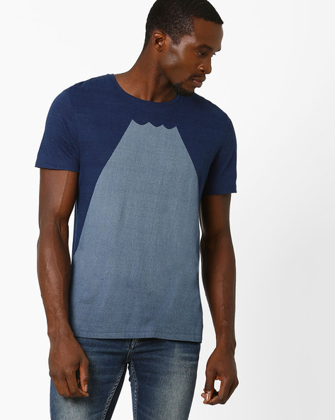 Colourblock Crew-Neck T-shirt By Celio ( Indigo )