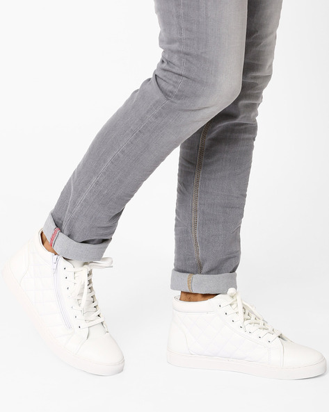 Quilted Mid-Top Faux Leather Sneakers By AJIO ( White )
