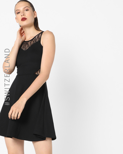 Sleeveless Skater Dress With Lace Insets By TALLY WEiJL ( Black )