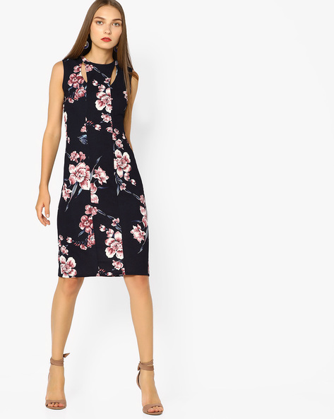 Floral Print Bodycon Dress With Cut-Out By AJIO ( Pink )