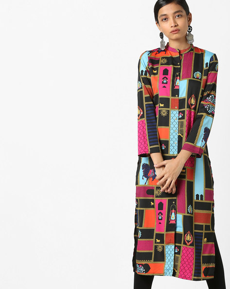 All-Over Print Kurta With Band Collar By W ( Black )