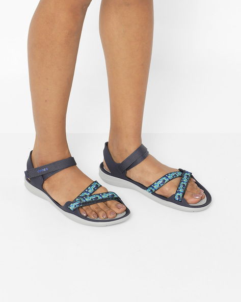 Swiftwater Webbing Flat Sandals With Velcro Closure By CROCS ( Navy )