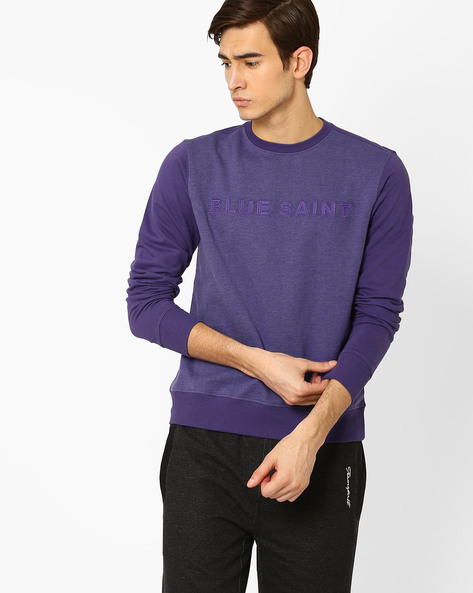 Slim Fit Sweatshirt With Ribbed Hems By Blue Saint ( Blue )
