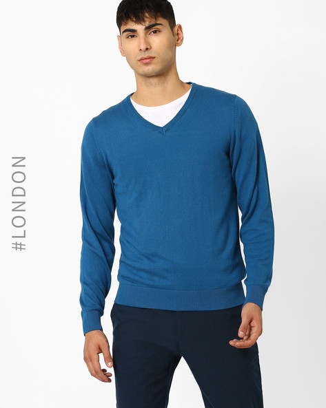 V-neck Sweater With Ribbed Hems By Marks & Spencer ( Teal )
