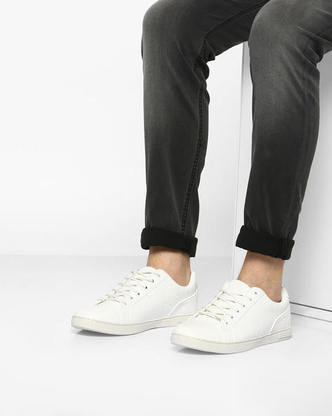 Panelled Low-Top Lace-Up Sneakers By AJIO ( White )