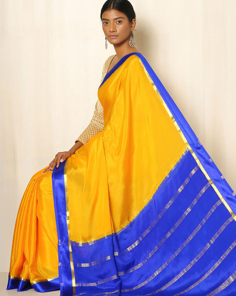 Pure Mysore Silk Crepe Saree By Indie Picks ( Yellow ) - 460039226001