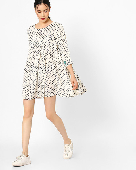 Printed Tunic With Embroidery By AJIO ( Offwhite )