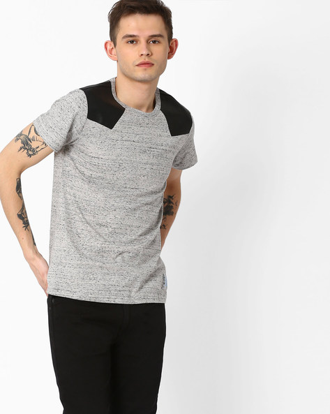 Slim Fit T-shirt With PU Patch By Atorse ( Grey )