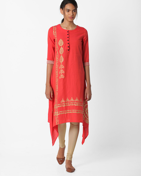 Printed Kurta With Dipped Hem By BE INDI ( Assorted )