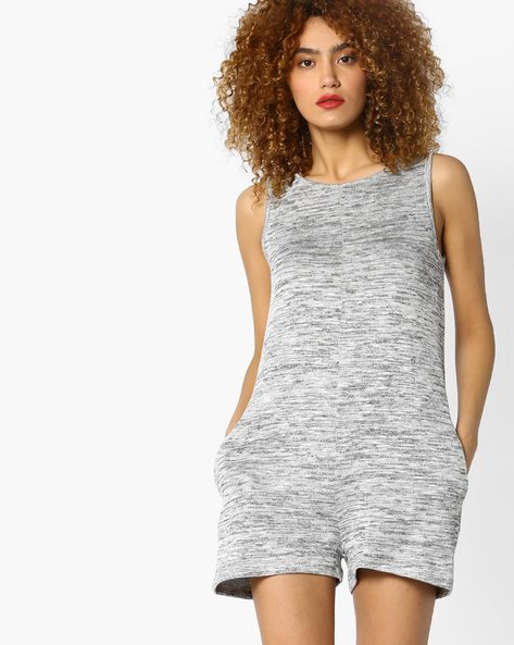 Patterened Playsuit With Pocket By Ginger By Lifestyle ( Grey )