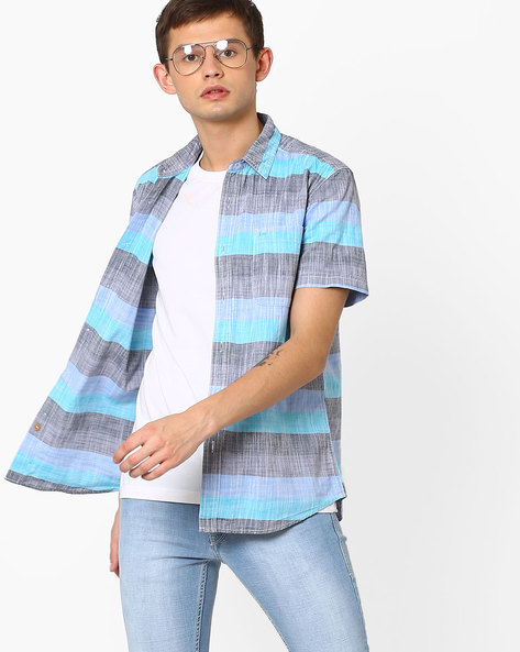 Striped Slim Fit Shirt By Lee ( Blue )