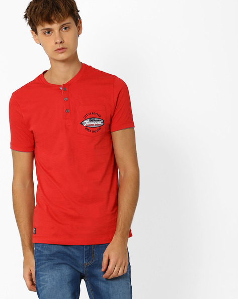 Henley T-shirt With Embroidered Patch Pocket By TEAM SPIRIT ( Red )