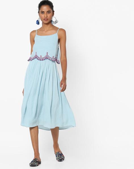 Strappy A-line Midi Dress By AJIO ( Blue )