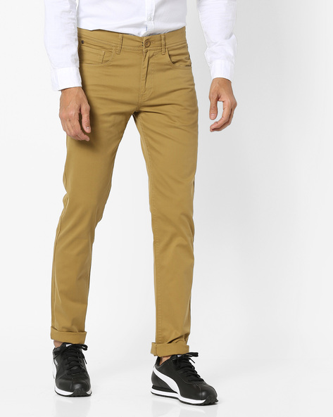 Slim Fit Flat-Front Trousers By SPYKAR ( Khaki )