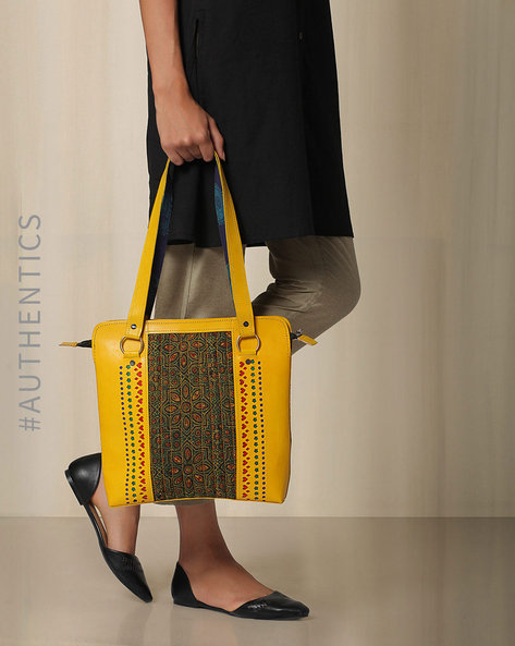 Kutch Cutwork Ajrak Leather Handbag By Indie Picks ( Yellow ) - 460033219001