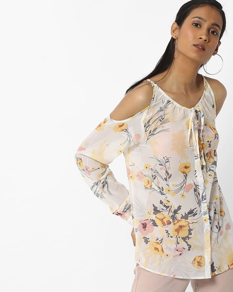 Floral Cold-Shoulder Shirt Top By DNMX ( Offwhite )