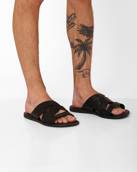 Genuine Leather Strappy Flip-Flops By RED TAPE ( Black )