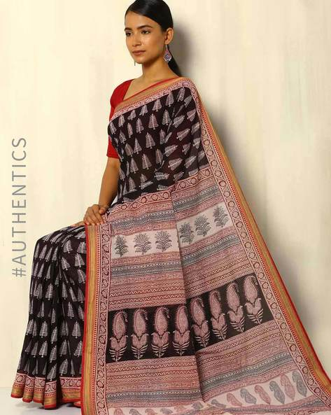 Bagh Handbock Print Cotton Saree With Zari Border By Indie Picks ( Black ) - 460084890001