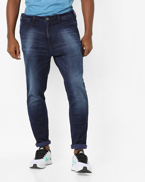 Washed Slim Fit Jeans By Locomotive ( Blue )