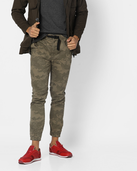 Camouflage Print Joggers By DNMX ( Olive )