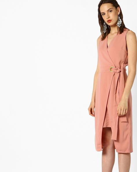 Shift Dress With Asymmetric Hem By AJIO ( Pink )