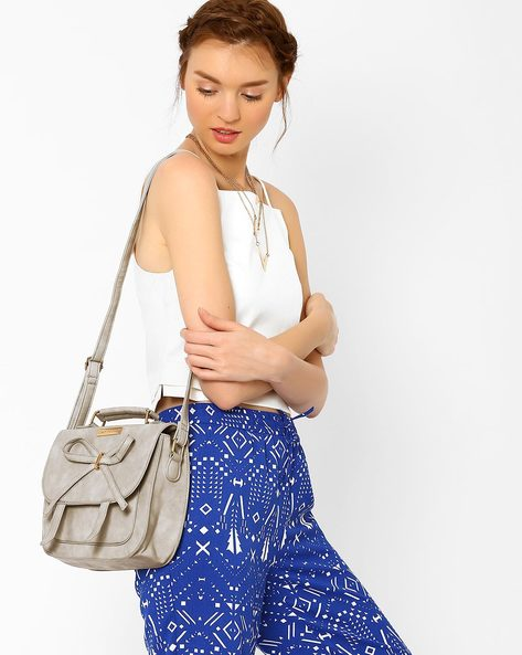 Faux-Leather Sling Bag With Bow Detail By Lino Perros ( Grey )