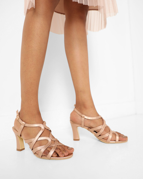 Strappy Heeled Sandals With Buckle Closure By AJIO ( Rosegold )