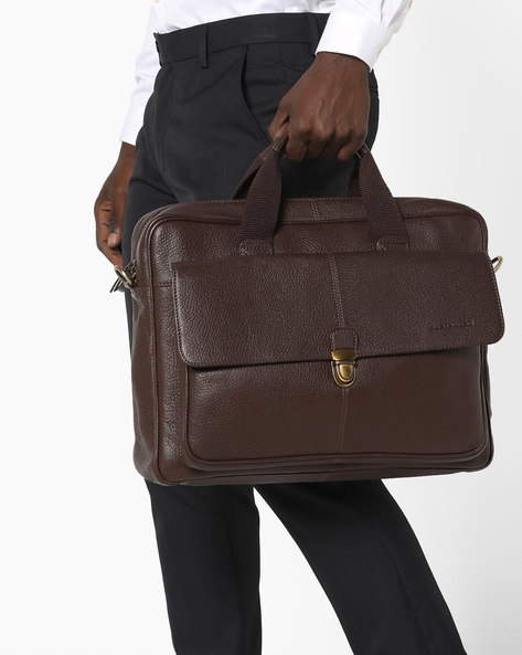 Genuine Leather Laptop Bag By JUSTANNED ( Brown )