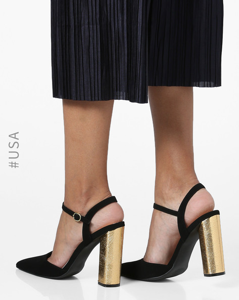 Chunky Heeled Sandals With Ankle-Strap By QUPID ( Black )