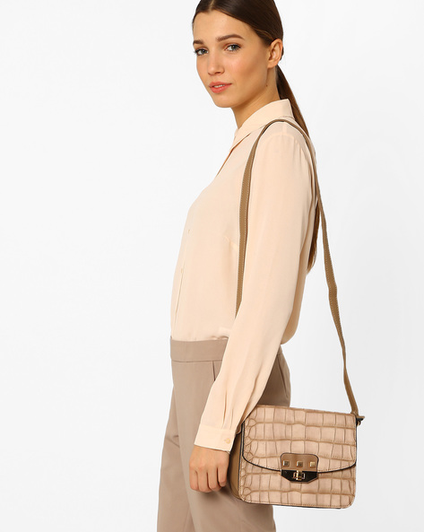 Textured Sling Bag By Carlton London ( Coffee )