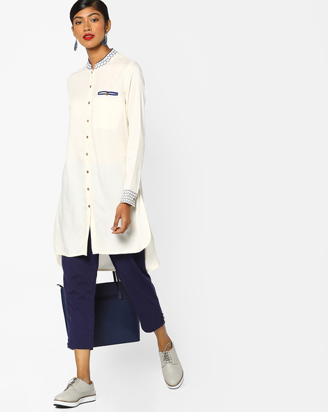 High-Low Tunic With Welt Pocket By AJIO ( Offwhite )