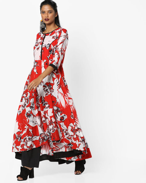 Printed High-Low Dress By Rain & Rainbow ( Red )