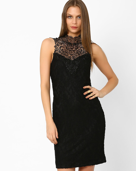 Lace Bodycon Dress By AJIO ( Black )