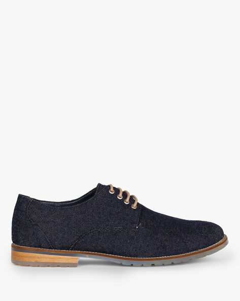 N9-Treated Textured Lace-Up Casual Shoes By AJIO ( Navy )