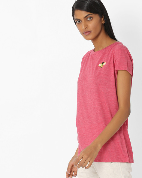 Crew-Neck Lounge Top With Badge By Mystere Paris ( Red )