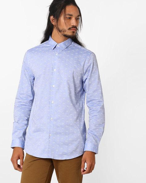 AOP Slim Fit Shirt By Jack & Jones ( Blue )