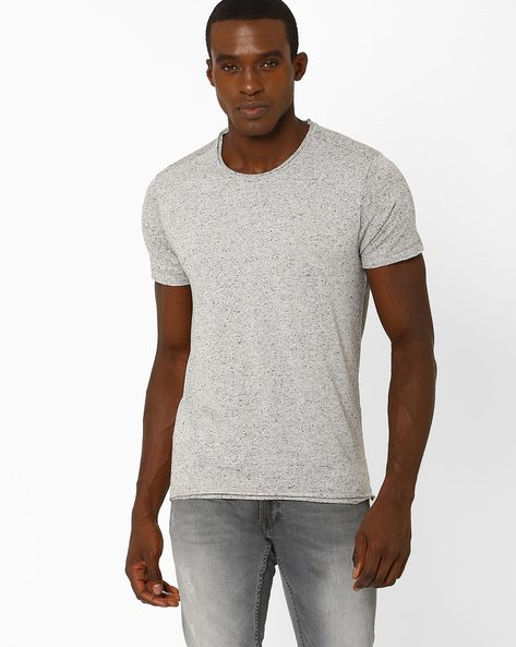 Slim T-shirt With Raw Edges By VOI JEANS ( Lightgrey )