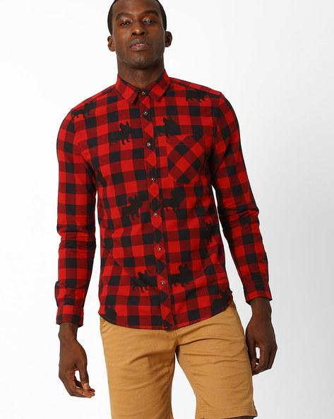 Printed Slim Fit Shirt By Jack & Jones ( Red )