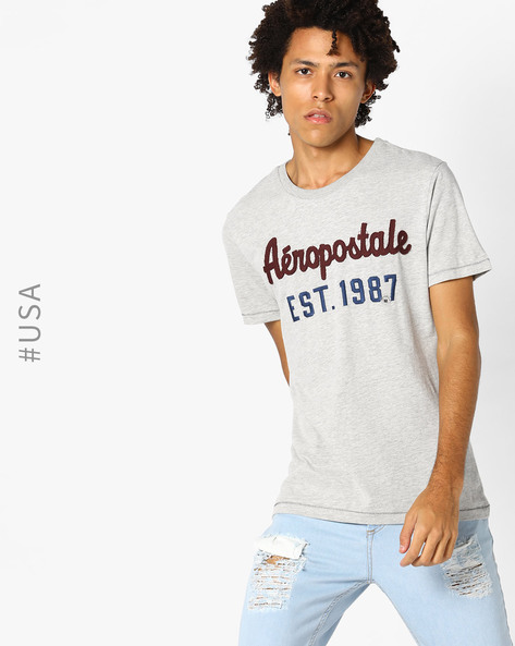 Crew-Neck T-shirt With Brand Embroidery By Aeropostale ( Lightgrey )