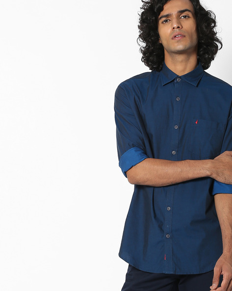 Slim Fit Cotton Shirt With Patch Pocket By British Club ( Blue ) - 460132231001