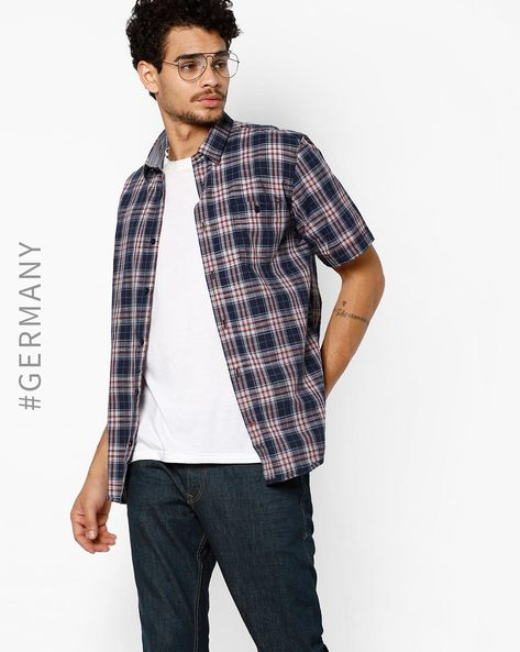 Checked Shirt With Patch Pocket By Tom Tailor ( Navyblue )