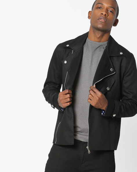 Biker Jacket With Front Zipper By MR.BUTTON ( Black )