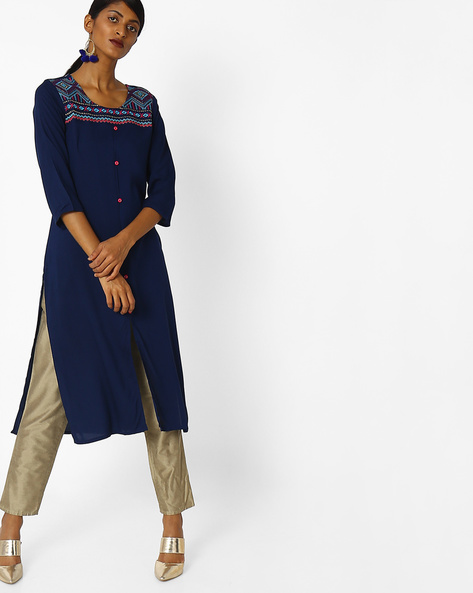 Embroidered Kurta With Front Slit By AVAASA MIX N' MATCH ( Navy )